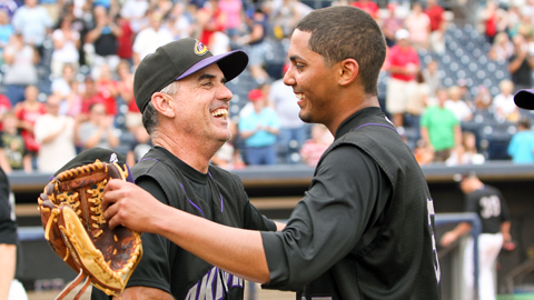 Giovanni Soto celebrates his no-no with pitching coach Tony Arnold.